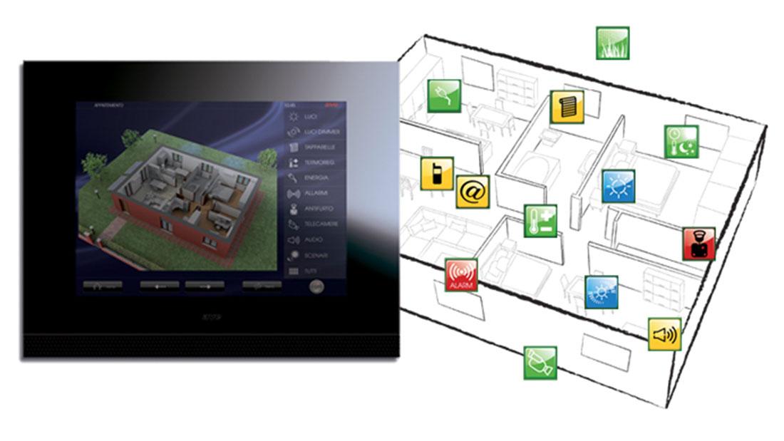 """Touch screen domina plus 15"""" di ave, l'ultima frontiera della domotica che coniuga tecnologia elevata e design unico"""
