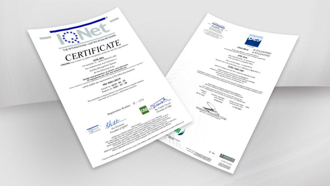 AVE: qualità certificata ISO 9001:2015