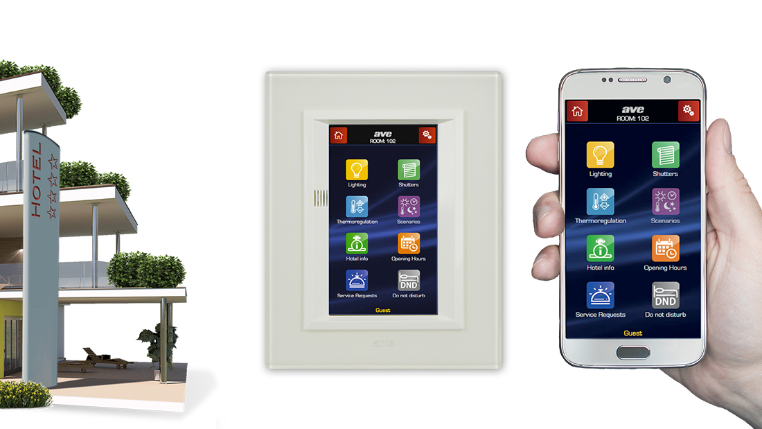 Domotica alberghiera AVE: Touch Screen per gestione camera con supervisione da smartphone
