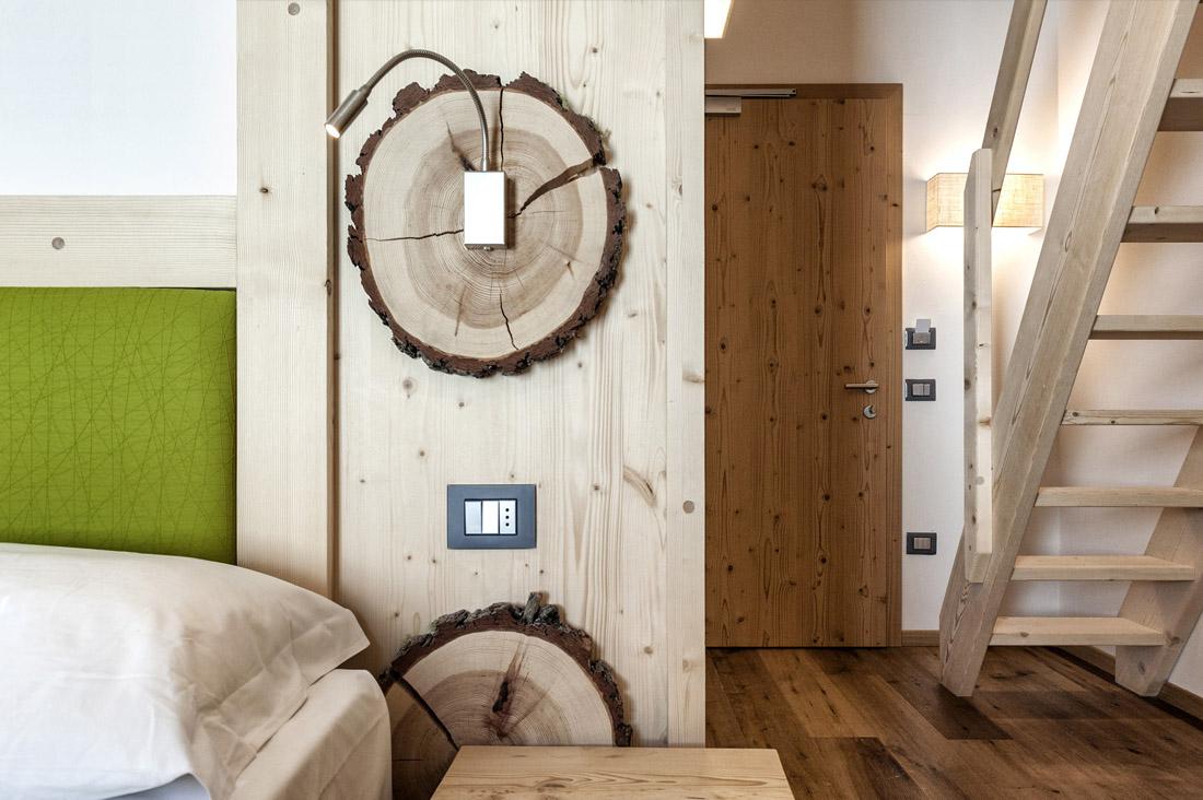 Punti luce di design AVE nelle camere del Rifugio Capanna Presena