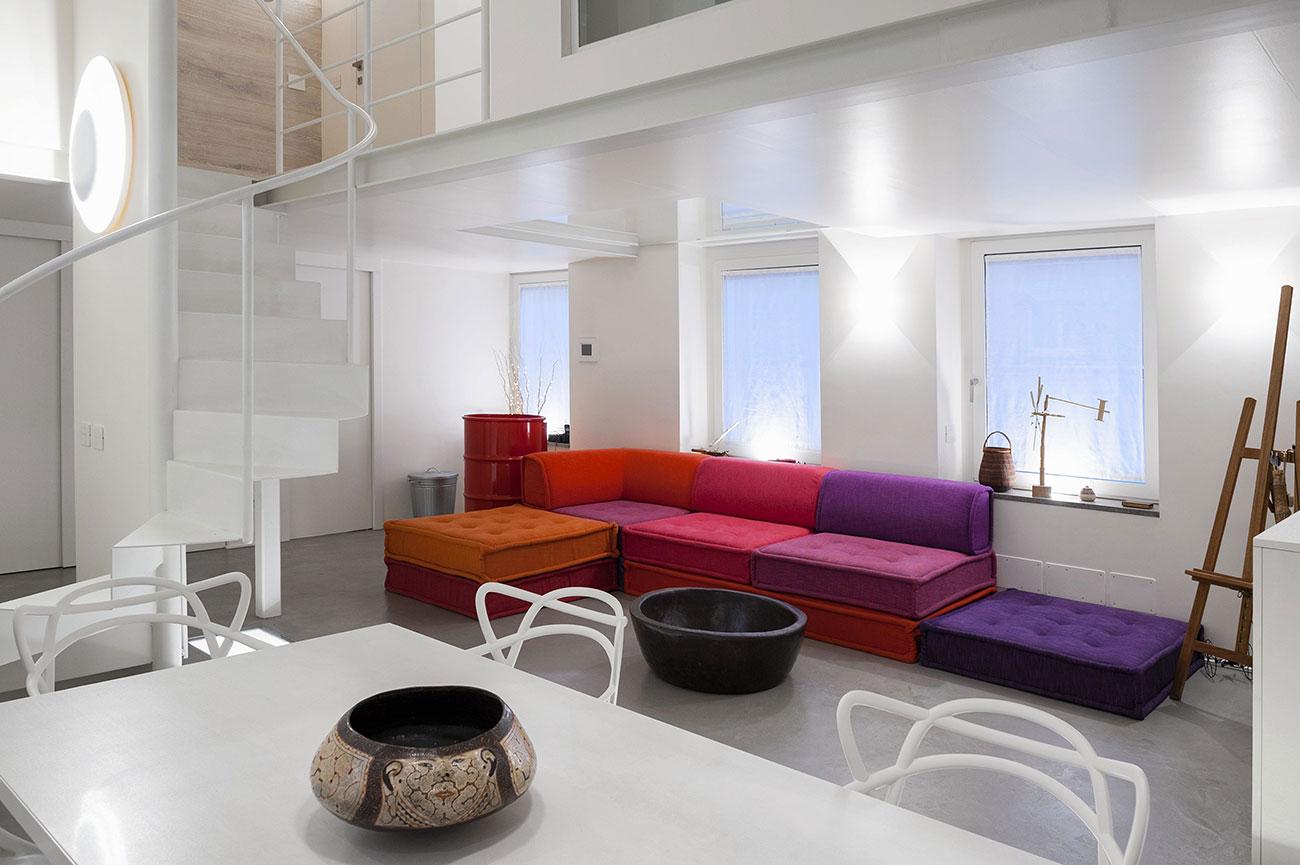 Punti luce zona giorno con design in vetro bianco