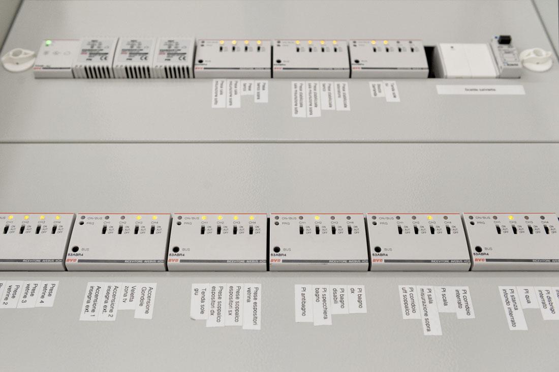 Quadro elettrico dell'impianto domotico