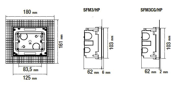Dimensioni scatola per installazione filomuro
