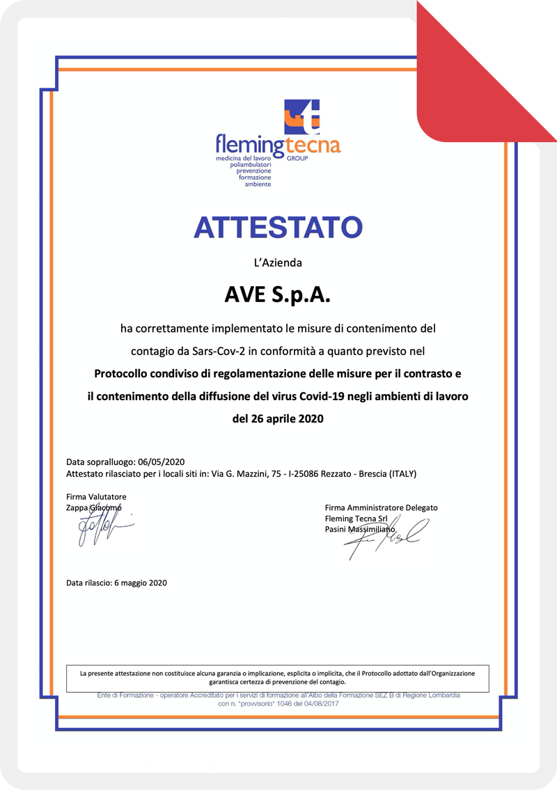 Attestato Audit AVE