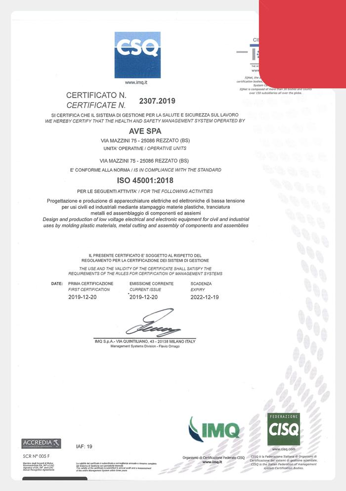Certificazione CSQ ISO 45001-2018