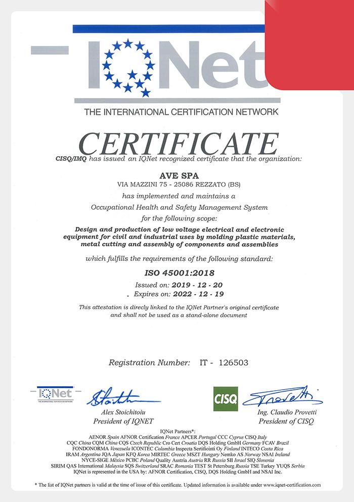 Certificazione AVE ISO 45001:2018