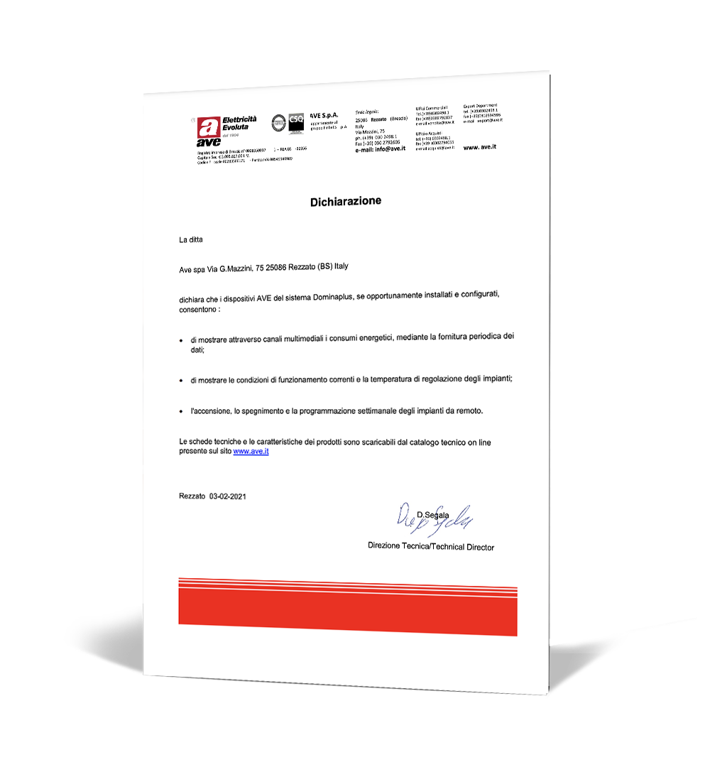Dichiarazione AVE Spa Superbonus 110%
