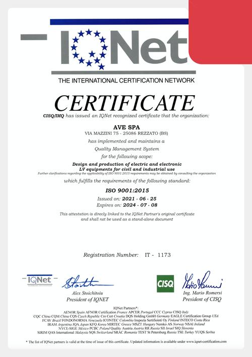 Certificazione ISO 9001:2015 AVE